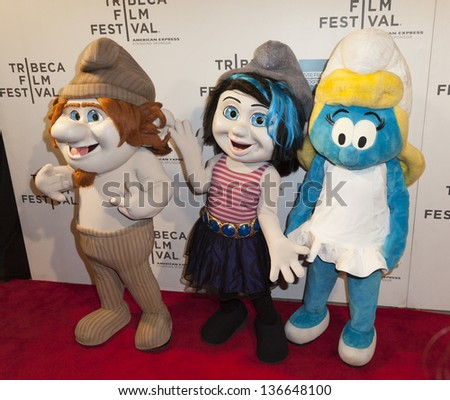 new york april 27 smurf characters stock photo edit now 136648100