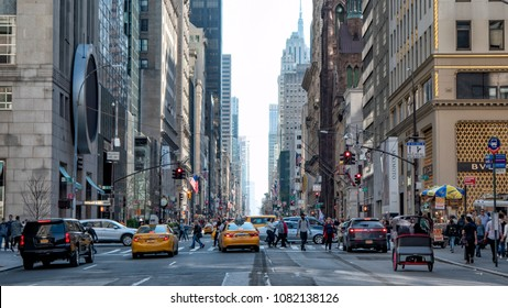 NEW YORK - APRIL 28, 2018: Traffic on 5th Avenue gets congested during the daytime.