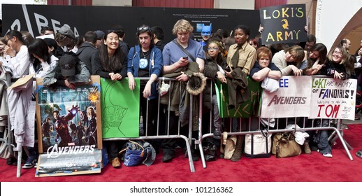 NEW YORK - APRIL 28: Fans await arrival of cast members at 'Marvel's The Avengers' Premiere during the 2012 Tribeca Film Festival at the Borough of Manhattan Community College on April 28, 2012 in NYC