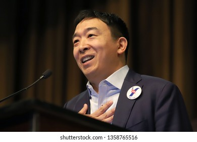 NEW YORK - APRIL 3, 2019: Democratic presidential candidate Andrew Yang speaks during the National Action Network Convention on April 3, 2019, in New York.