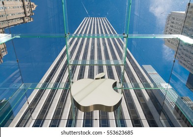 NEW YORK - APRIL 30, 2016: Apple logo seen from inside the Apple store on 5th avenue