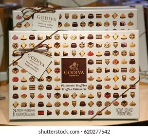 NEW YORK - APRIL 4, 2017: Patisserie Truffles Gift Box by Godiva on display in Macy's Herald Square in Manhattan. Godiva Chocolatier is a manufacturer of premium chocolates founded in Belgium in 1926.