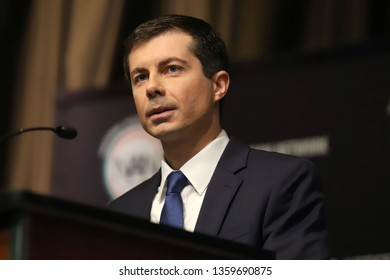 NEW YORK - APRIL 4, 2019: Democratic presidential candidate Pete Buttigieg speaks during the National Action Network Convention on April 4, 2019, in New York.