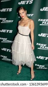 NEW YORK, NEW YORK - APRIL 4, 2019: Joy Corrigan walk the New York Jets Uniform Reveal Green Carpet at Gotham Hall in Manhattan, New York on April 4, 2019.