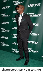 NEW YORK, NEW YORK - APRIL 4, 2019: J.B. Smoove walk the New York Jets Uniform Reveal Green Carpet at Gotham Hall in Manhattan, New York on April 4, 2019.