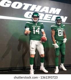 NEW YORK, NEW YORK - APRIL 4, 2019: Sam Darnold walk the New York Jets Uniform Reveal Green Carpet at Gotham Hall in Manhattan, New York on April 4, 2019.