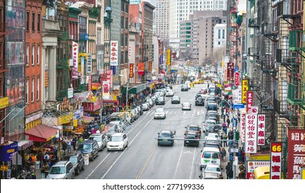 NEW YORK - APRIL 5, 2015: Aerial photo of one of the main streets in Chinatown in New York City.  The neighborhood is home to the largest population of Chinese people in the Western Hemisphere.