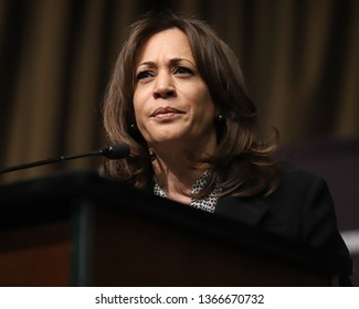 NEW YORK - APRIL 5, 2019: Democratic presidential candidate Kamala Harris speaks during the National Action Network Convention on April 5, 2019, in New York.