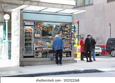 NEW YORK - APRIL 6:  A news stand is open for business in NYC's financial district.  Photo taken April 6, 2014.