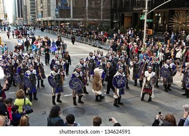 NEW YORK - APRIL 6:  Vikings at The 2013 New York Tartan Day Parade April 6, 2013 in New York City.