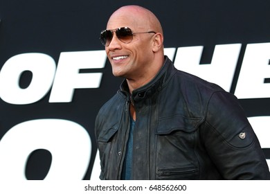 "NEW YORK - April 8, 2017: Dwayne ""The Rock"" Johnson attends the premiere of ""The Fate Of The Furious"" at Radio City Music Hall on April 8, 2017, in New York."