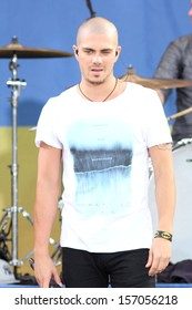 NEW YORK - AUG 24: Max George of The Wanted performs on 'Good Morning America's concert series in Central Park on August 24, 2012 in New York City.