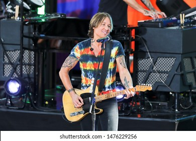 "NEW YORK - AUG 9: Keith Urban performs on ABC's ""Good Morning America"" on August 9, 2019 at Rumsey Playfield in New York City."