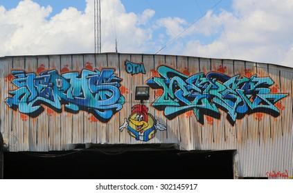 NEW YORK - AUGUST 1, 2015: Graffiti art at East Williamsburg in Brooklyn