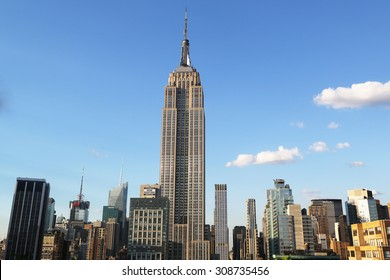 NEW YORK - AUGUST 1, 2015: Midtown Manhattan aerial view with Empire State Building. The Empire State Building is a 102-story landmark and was world's tallest building for more than 40 years.