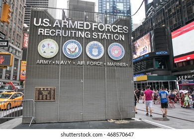 New York, August 12, 2016: A U.S. Armed Forces recruiting station on Times Square.