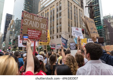 NEW YORK - AUGUST 14tTH 2017; Protesters near Trump Tower