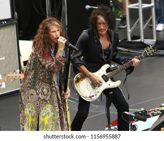 "NEW YORK - AUGUST 15, 2018: Steven Tyler and Joe Perry of Aerosmith perform on the NBC ""Today"" show concert series on August 15, 2018, in New York City."