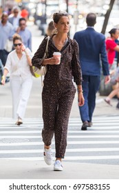 NEW YORK - AUGUST 16, 2017: Katie Holmes seen walking on the streets of Manhattan on August 16, 2017 in New York City.