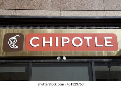 NEW YORK - AUGUST 16: Entrance to Chipotle Mexican grill in New York, United States America.  A chain of fast food restaurants, 2000 restaurants around the world. Photo taken on: August 15th, 2016.