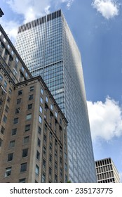 NEW YORK, NEW YORK - AUGUST 17, 2013: New York City Office Skyscrapers along Grand Central Station in Midtown.