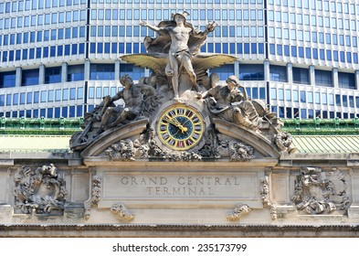 NEW YORK, NEW YORK - AUGUST 17, 2013: Grand Central Station in New York. The iconic beaux arts statue of the Greek God Mercury that adorns the south facade of Grand Central Terminal on 42nd Street.