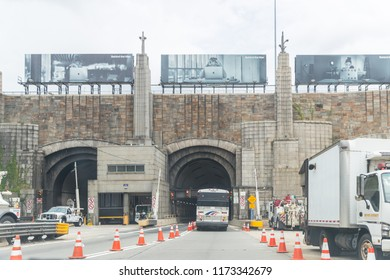 New York, August 18, 2018Vehicles enter the Lincoln Tunnel in New York City. Lincoln Tunnel is one of the busiest crossings in the world, carrying over 40 million vehicles per year.