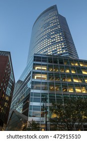 New York, August 18: Goldman Sachs main office building at 200 West street in the evening. View from Vesey Street.