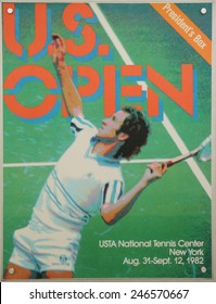 NEW YORK - AUGUST 19, 2014: US Open 1982 poster on display at the Billie Jean King National Tennis Center in New York