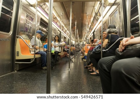 New York, August 19, 2016: People are riding subway in New York City.