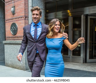 NEW YORK - AUGUST 2: Bachelorette Jojo Fletcher and fiance Jordan Rodgers seen leaving ABC Studios on August 2, 2016 in New York City.