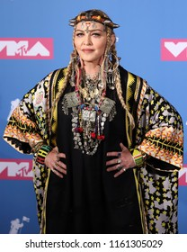 NEW YORK - AUGUST 20, 2018:  Madonna attends the MTV Video Music Awards at Radio City Music Hall on August 20, 2018, in New York.