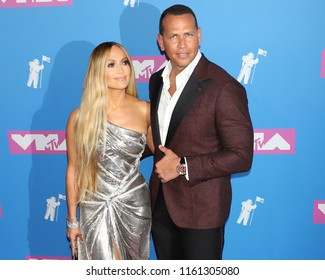 NEW YORK - AUGUST 20, 2018:  Jennifer Lopez and Alex Rodrigues attend the MTV Video Music Awards at Radio City Music Hall on August 20, 2018, in New York.