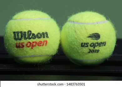 NEW YORK - AUGUST 20, 2019: US Open Wilson tennis ball at Billie Jean King National Tennis Center in New York. Wilson is the Official Ball of the US Open since 1979