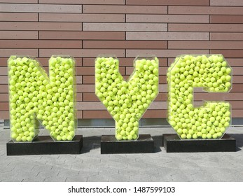 NEW YORK- AUGUST 20, 2019: New York City sign from tennis balls at the Billie Jean King National Tennis Center during 2019 US Open tournament in New York