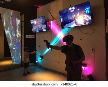NEW YORK- AUGUST 2017: Virtual reality arcade VR World NYC bills itself as the largest VR experience center. VR is a computer technology that physical spaces or multi-projected environments