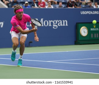 NEW YORK - AUGUST 21, 2018: Professional tennis player Alexander Zverev of Germany in practice for 2018 US Open at Billie Jean King National Tennis Center