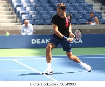 NEW YORK - AUGUST 22, 2017: Nineteen times Grand Slam Champion Roger Federer of Switzerland practices for US Open 2017 at Billie Jean King National Tennis Center in New York