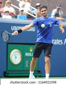 NEW YORK - AUGUST 22, 2018: 20-time Grand Slam champion Roger Federer of Switzerland practices for the 2018 US Open at Billie Jean King National Tennis Center