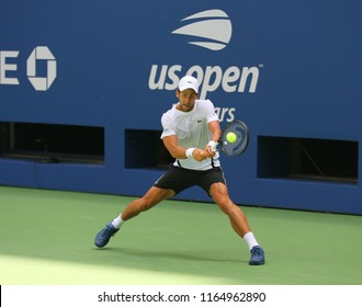NEW YORK - AUGUST 22, 2018: 13-time Grand Slam champion Novak Djokovic of Serbia practices for the 2018 US Open at Billie Jean King National Tennis Center