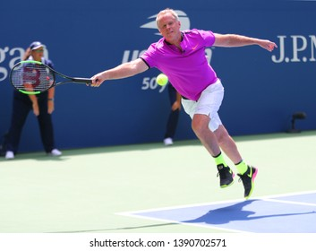 NEW YORK - AUGUST 22, 2018: Former captain of the USA Davis Cup team Patrick McEnroe in action during 2018 US Open exhibition match at newly open Louis Armstrong Stadium at National Tennis Center
