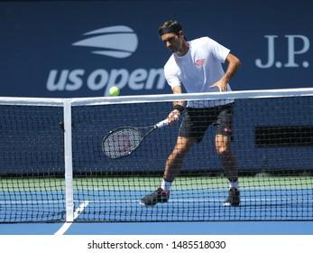 NEW YORK - AUGUST 22, 2019: 20-time Grand Slam champion Roger Federer of Switzerland practices for the 2019 US Open at Billie Jean King National Tennis Center