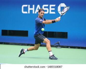 NEW YORK - AUGUST 22, 2019: 20-time Grand Slam champion Roger Federer of Switzerland practices for the 2019 US Open at Billie Jean King National Tennis Center