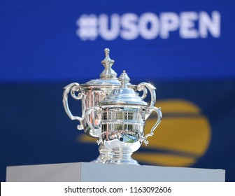 NEW YORK - AUGUST 23, 2018: US Open Men's and Women's singles trophies on display during 2018 US Open draw ceremony at Brookfield Place in Manhattan