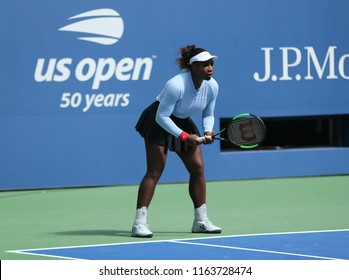NEW YORK - AUGUST 23, 2018: Grand Slam champion Serena Williams practices for the 2018 US Open at Billie Jean King National Tennis Center