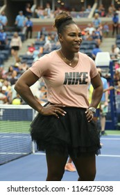 NEW YORK - AUGUST 23, 2018: 23-time Grand Slam champion Serena Williams participates at Arthur Ashe Kids Day before 2018 US Open at Billie Jean King National Tennis Center