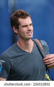 NEW YORK - AUGUST 23: Grand Slam Champion Andy Murray after practice for US Open 2014 at Billie Jean King National Tennis Center on August 23 , 2014 in New York
