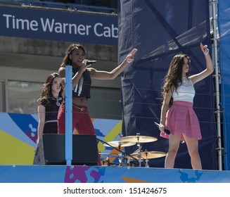 NEW YORK - AUGUST 24: Fifth Harmony performs on stage during Arthur Ashe Kids Day presentation at Billie Jean King National Tennis Center on August 24, 2013 in New York City
