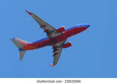 NEW YORK - AUGUST 24: Southwest Airlines Boeing 737 plane taking off from La Guardia Airport on August 24, 2014. Southwest Airlines is a major U.S. airline and the world's largest low-cost carrier