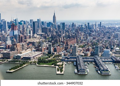 NEW YORK - AUGUST 24: Views of of Midtown Manhattan from a helicopter in New York on August 24, 2015. Helicopter tours are popular by tourist in New York.